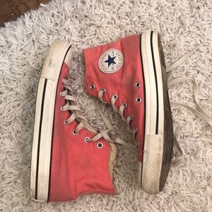 Coral High Top Converse - Women's Size 8